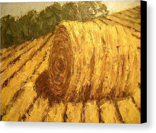 Art Sale Canvas Print featuring the painting Haybale Hill by Jaylynn Johnson