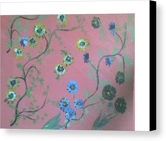 Florals Canvas Print featuring the painting Hds-acrylic-floral-pink by Hema V Gopaluni