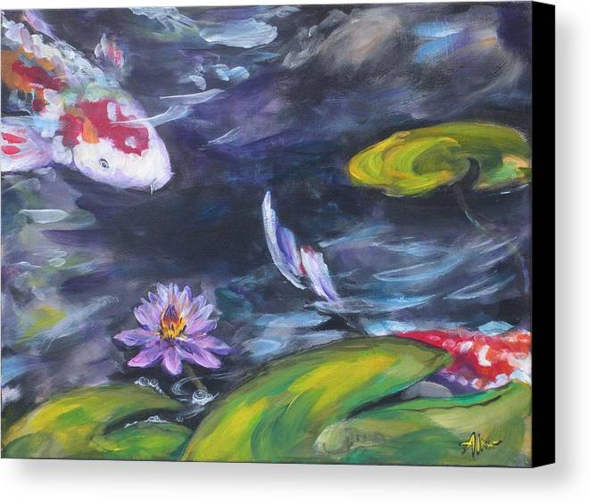 Koi Fish Lily Pad Water Waterscape Green Blue Red Pond Nature Canvas Print featuring the painting Heads Or Tails by Alan Scott Craig