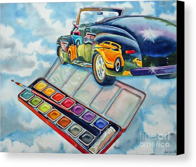 Old Vintage Car Canvas Print featuring the painting Heavenly Hotrod by Gail Zavala