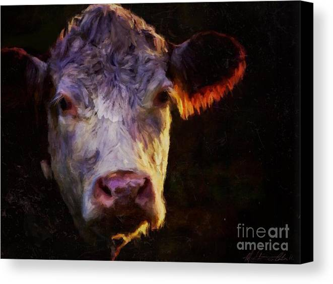 Hereford Canvas Print featuring the mixed media Hereford Cow by Michele Carter