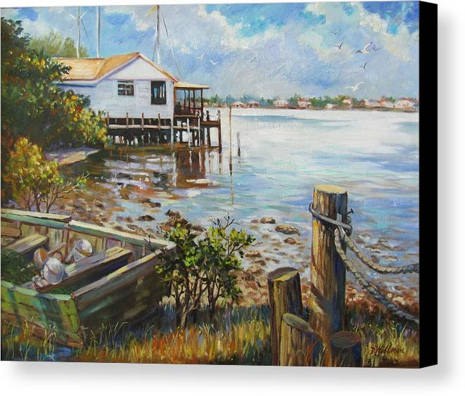 Old Rowboat Canvas Print featuring the painting High And Dry by Dianna Willman