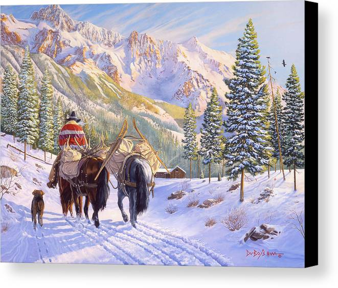 Horses Canvas Print featuring the painting High Country by Howard Dubois