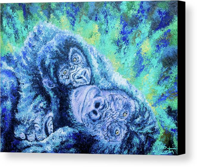 Gorilla Painting Canvas Print featuring the painting Hold Me Close by Haley Proctor