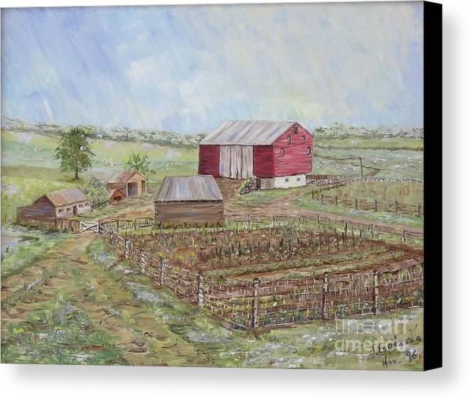 Red Barn With Several Other Small Sheds; Garden In Foreground; Landscape Canvas Print featuring the painting Homeplace - The Barn And Vegetable Garden by Judith Espinoza