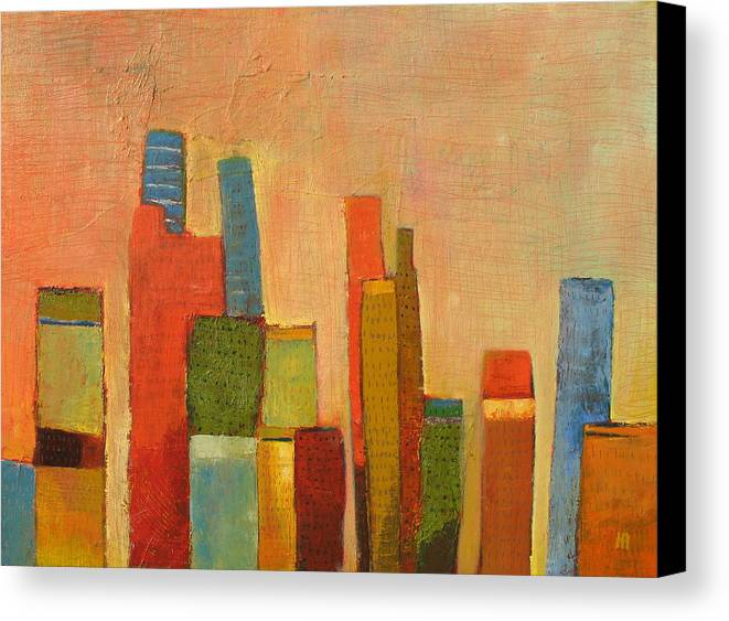 Abstract Cityscape Canvas Print featuring the painting Hot Manhattan by Habib Ayat