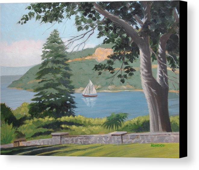 Landscape Waterscape Sail Boat Canvas Print featuring the painting Hudson River Schooner by Robert Rohrich