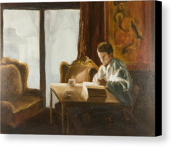 Man Canvas Print featuring the painting In A French Cafe by Joni Herman