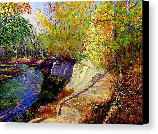 Fall Canvas Print featuring the painting Indiana Creek Bank by Stan Hamilton