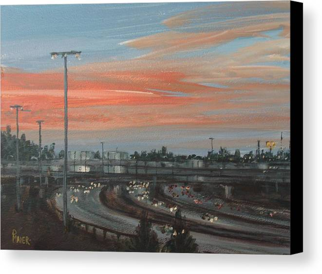 Skyscape Canvas Print featuring the painting Interscape 85 by Pete Maier