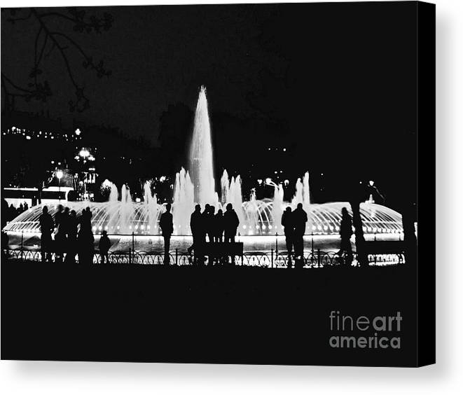 Istanbul Canvas Print featuring the photograph Istanbul Fountain Lights by Rachel Morrison
