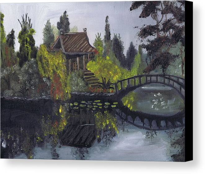 Oil On Canvas Canvas Print featuring the painting Japanese Garden With Bridge by Samara Doumnande