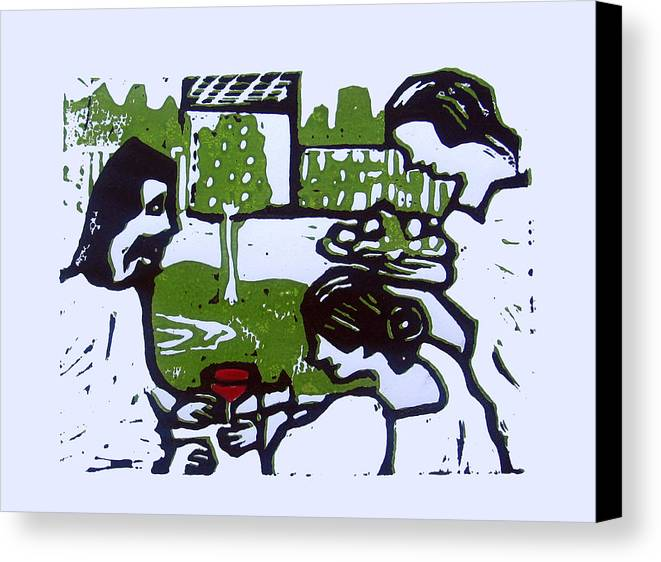 Bible Canvas Print featuring the drawing Jesus With Mary And Martha by Adam Kissel