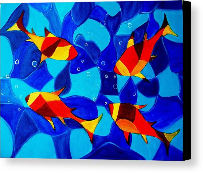 Abstract.acrylic.fish.bubbles.art.painting.modern.contemporary.popblue Red Bubbles Yellow Landscape Canvas Print featuring the painting Joy Fish Abstract by Manjiri Kanvinde