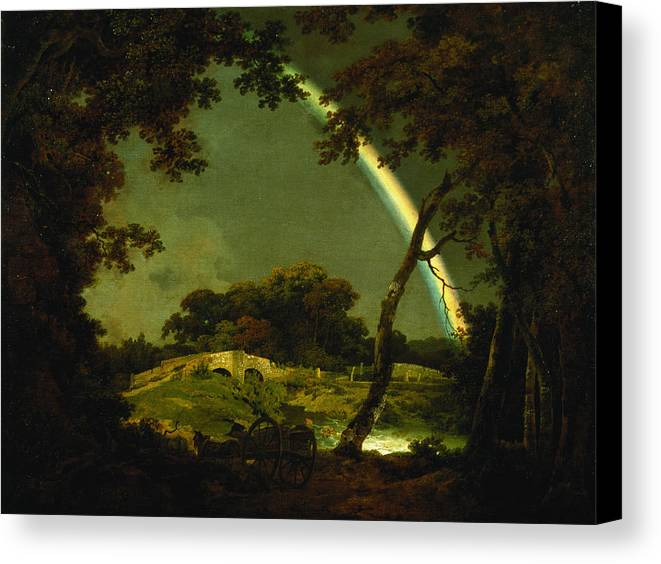 Landscape Canvas Print featuring the painting Landscape With A Rainbow by Joseph Wright of Derby