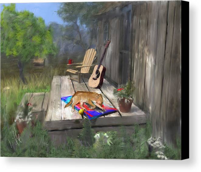Dog Canvas Print featuring the painting Let Sleeping Dogs Lie by Barb Kirpluk