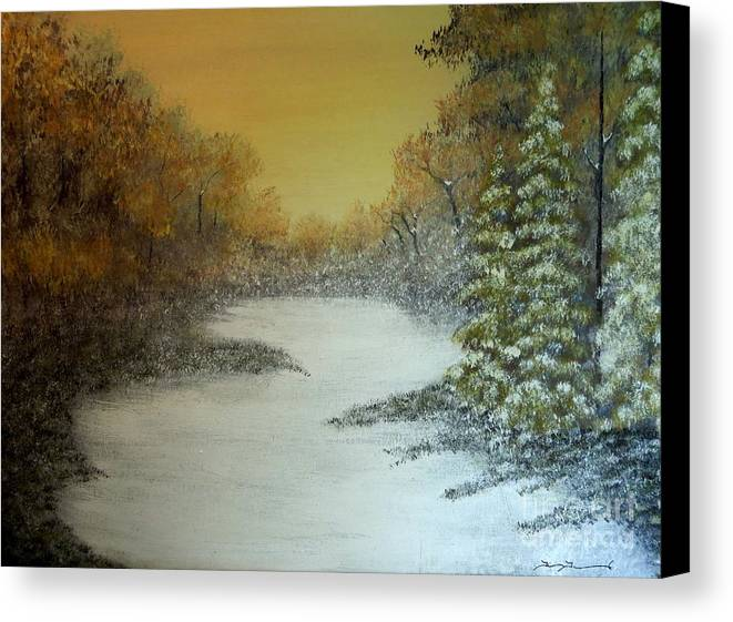 Winter Canvas Print featuring the painting Long Winters Morning by Tim Townsend