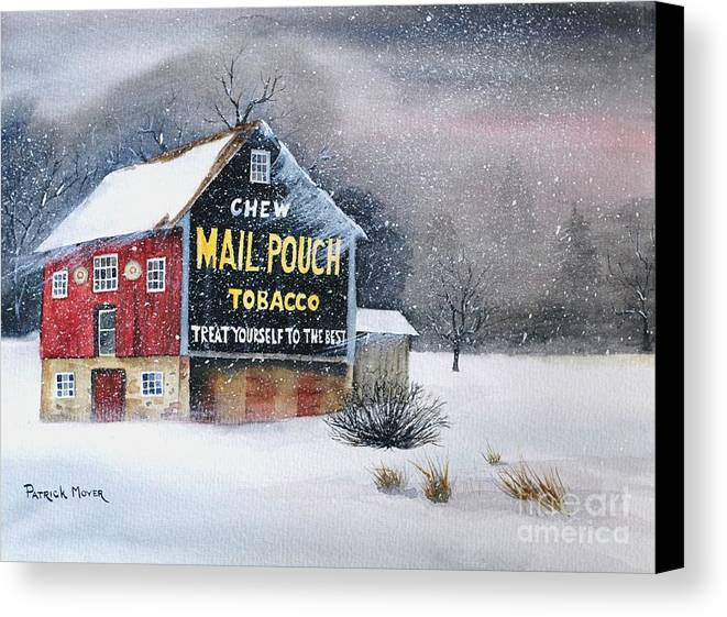 Watercolor Canvas Print featuring the painting Mail Pouch Tobacco Barn by Patrick Moyer