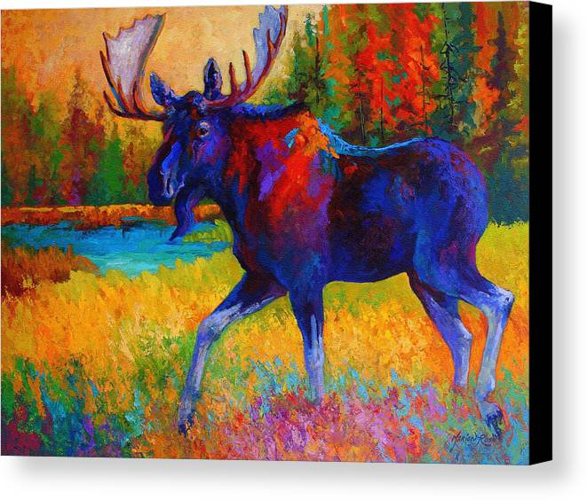 Moose Canvas Print featuring the painting Majestic Monarch - Moose by Marion Rose