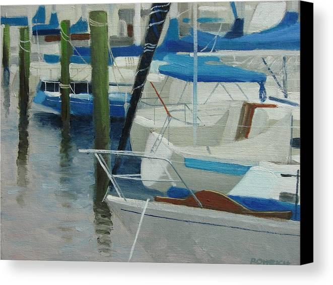 Boats Marina Canvas Print featuring the painting Marina No. 2 by Robert Rohrich