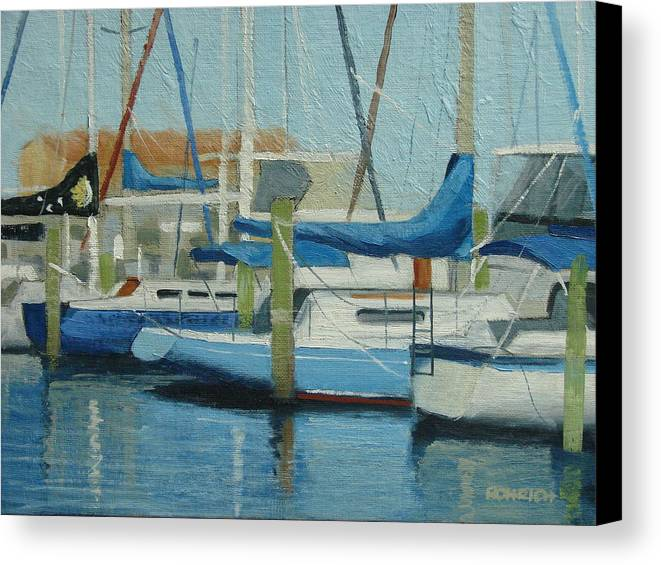 Boat Marinas Canvas Print featuring the painting Marina No 4 by Robert Rohrich