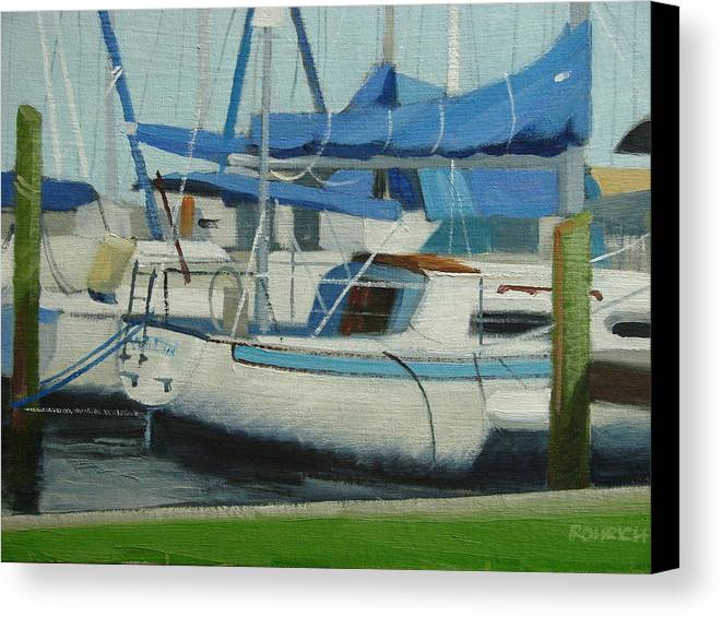 Boats  Marinas Canvas Print featuring the painting Marina No 5 by Robert Rohrich
