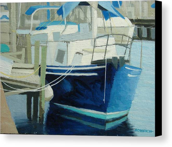 Boat Marinas Canvas Print featuring the painting Marina No1 by Robert Rohrich