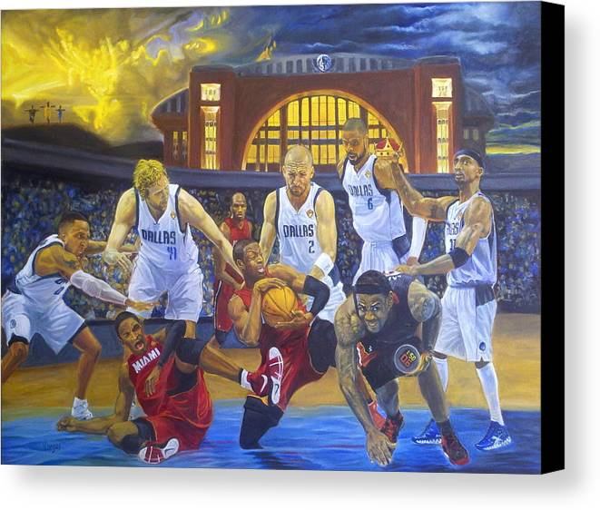 Mavs Canvas Print featuring the painting Mavericks Defeat The King And His Court by Luis Antonio Vargas