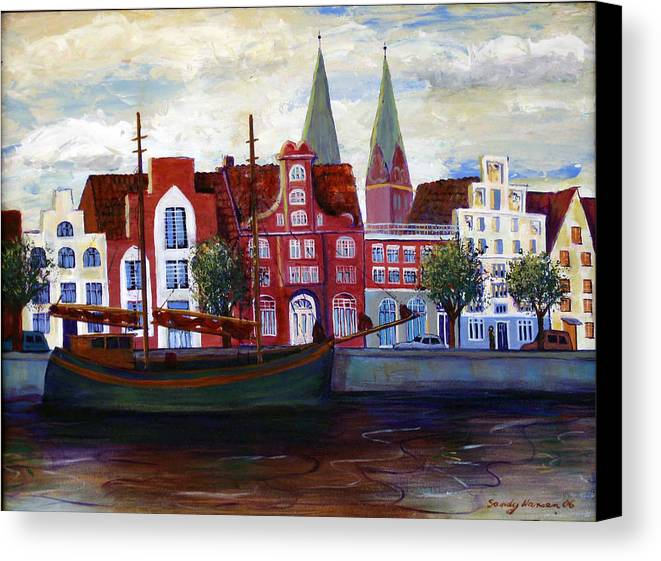 Lubeck Canvas Print featuring the painting Medieval Town In Lubeck Germany by Art Nomad Sandra Hansen