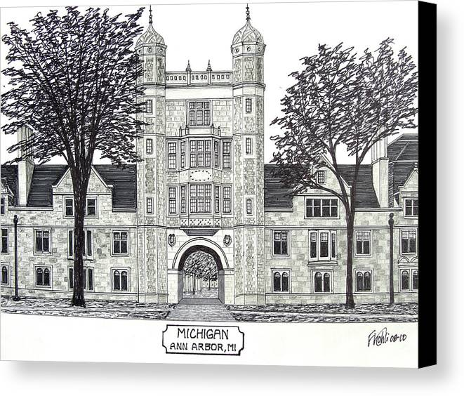Pen And Ink Drawings Canvas Print featuring the drawing Michigan by Frederic Kohli
