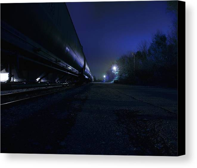 Night Canvas Print featuring the photograph Midnight Train 1 by Scott Hovind