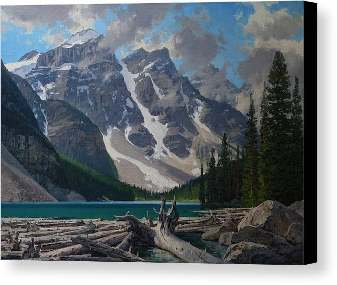 Landscape Canvas Print featuring the painting Moraine Lake by Lanny Grant