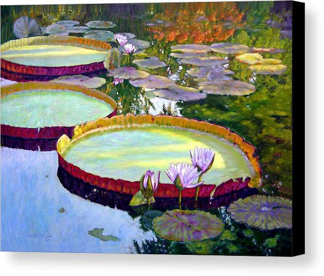 Garden Pond Canvas Print featuring the painting Morning Highlights by John Lautermilch