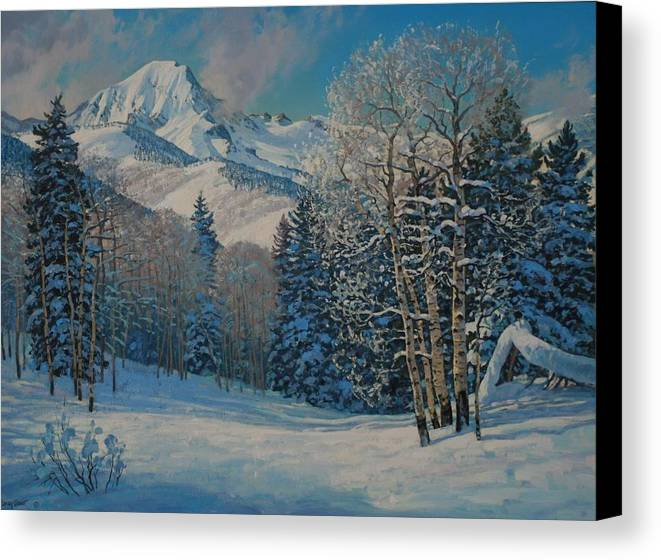Landscape Canvas Print featuring the painting Mt. Daly by Lanny Grant