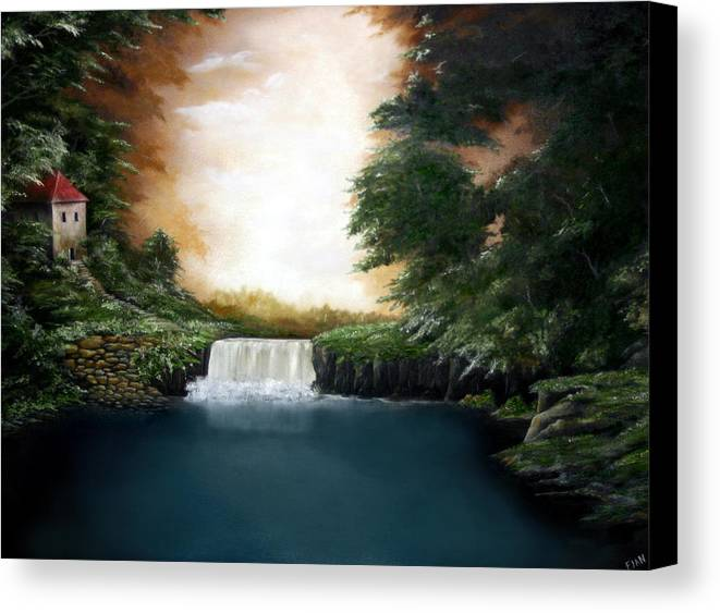Falls Canvas Print featuring the painting Mystical Falls by Ruben Flanagan