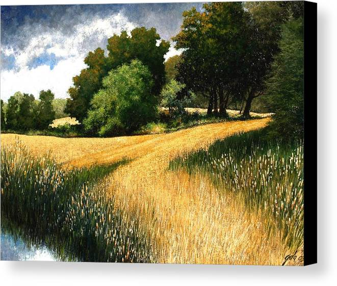 Landscape Canvas Print featuring the painting Nature Walk Ridgefield Washington by Jim Gola