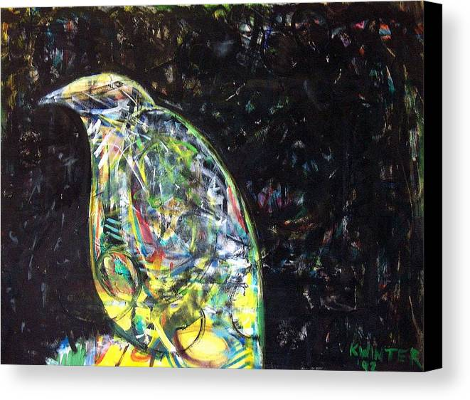 Bird Night Canvas Print featuring the mixed media Night Bird by Dave Kwinter
