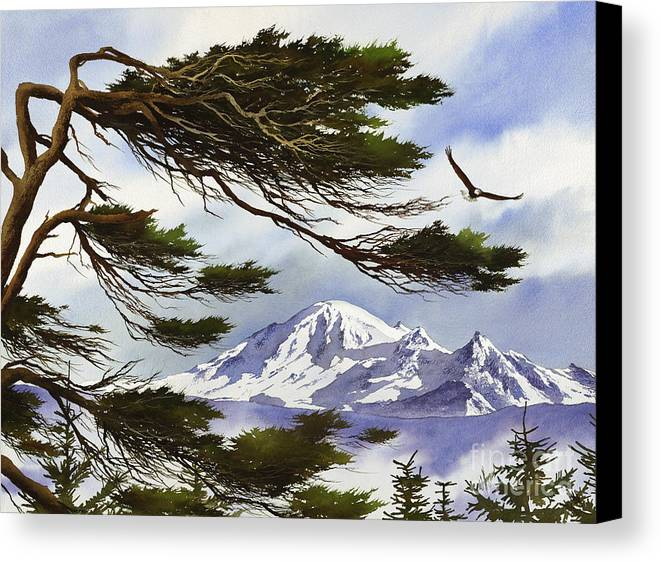 Landscape Fine Art Print Canvas Print featuring the painting Northwest Majesty by James Williamson