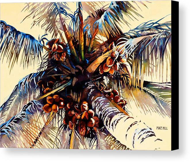 Sun Coconuts Palm Tree Breeze Wind Yellow Light Tropical Warm Hawaii Maui Hawaiian Canvas Print featuring the painting Oh Nuts by Mike Hill