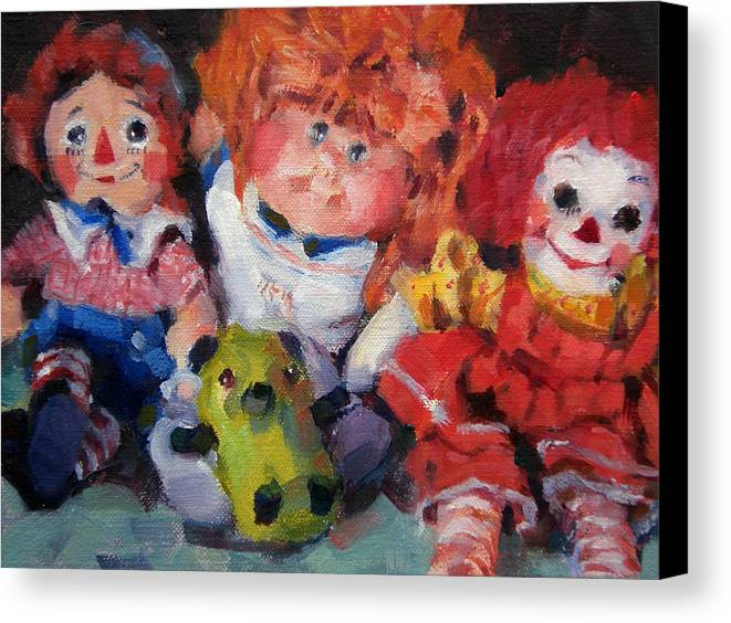 Toys Canvas Print featuring the painting Old Friends by Merle Keller