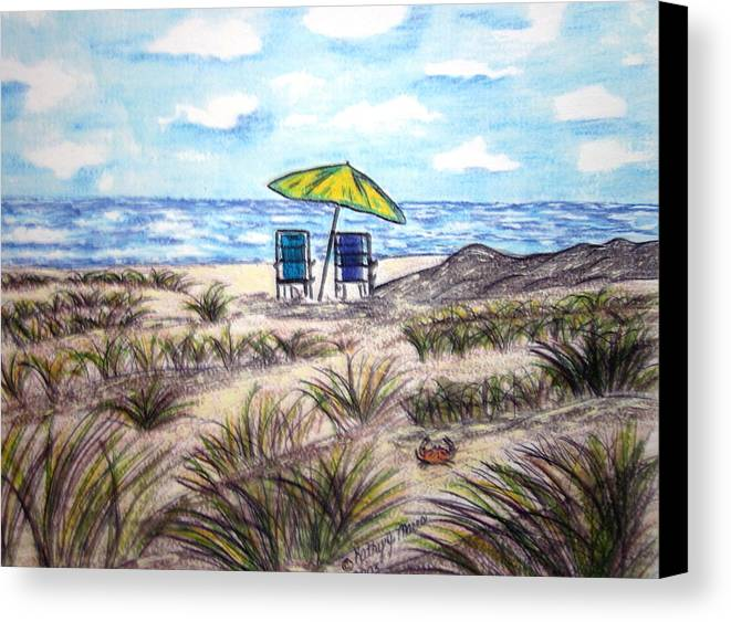 Beach Canvas Print featuring the painting On The Beach by Kathy Marrs Chandler
