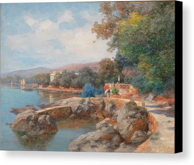 Carl Eduard Onken Canvas Print featuring the painting On The Beach Of Abbazia by Celestial Images
