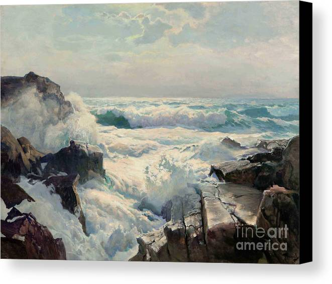 Pd Canvas Print featuring the painting On The Maine Coast by Pg Reproductions