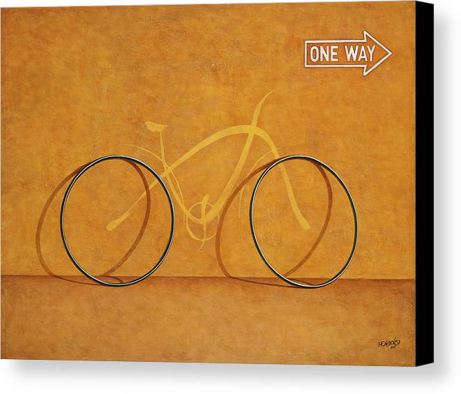 Bike Canvas Print featuring the painting One Way by Horacio Cardozo