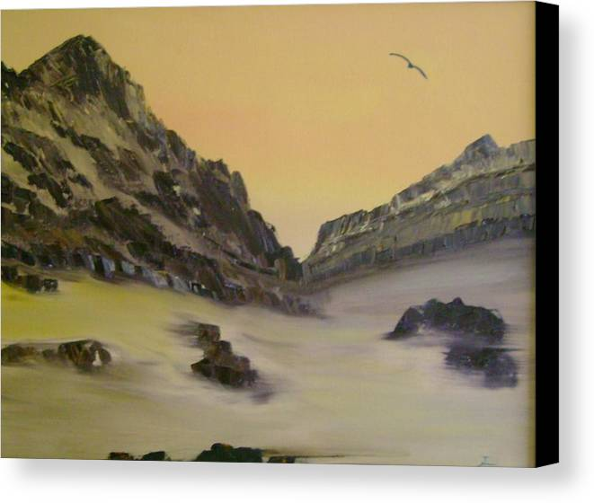 Mountains Canvas Print featuring the painting Orange Sky by Dottie Briggs