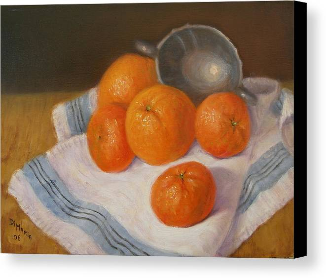 Realism Canvas Print featuring the painting Oranges And Tangerines by Donelli DiMaria