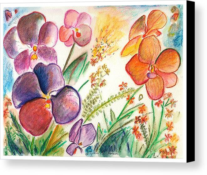 Orchids Canvas Print featuring the painting Orchid No. 12 by Julie Richman