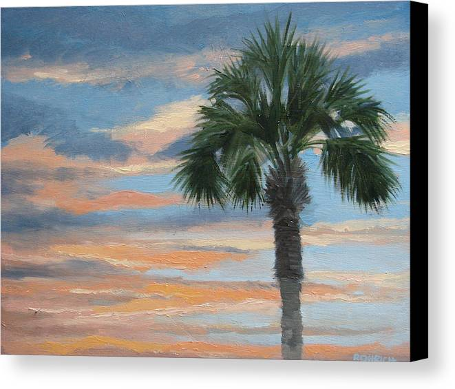 Landscape Canvas Print featuring the painting Palm Morning by Robert Rohrich