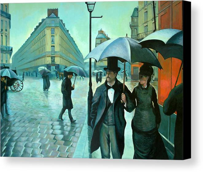 Rain Canvas Print featuring the painting Paris Street Rainy Day by Jose Roldan Rendon