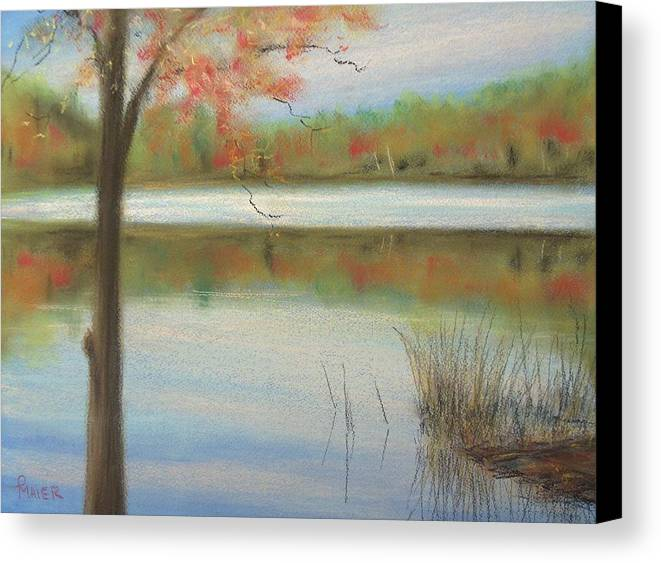 Lakescape Canvas Print featuring the painting Pastel Lake by Pete Maier